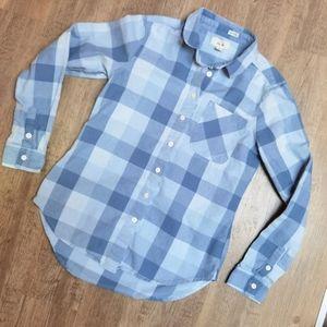 Per Se blue plaid Button down casual shirt
